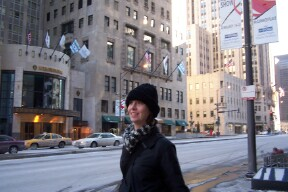 A Photo of Jennifer Guiliano walking in Chicago